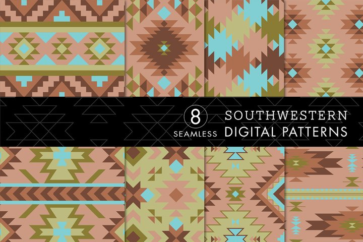 8 Seamless Southwest Patterns - Turquoise, Green & Brown