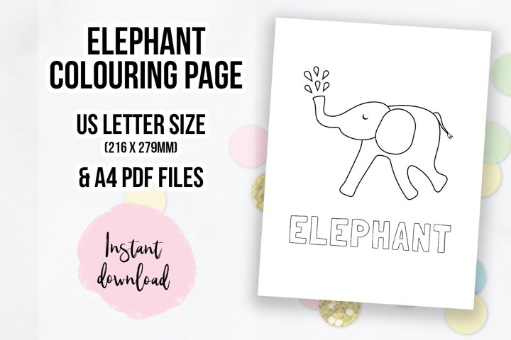 Cute Elephant Coloring Page | Colouring Book Page