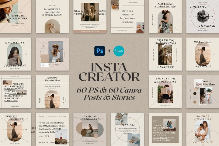 CANVA & PS - Instagram Creator Posts & Stories Bundle