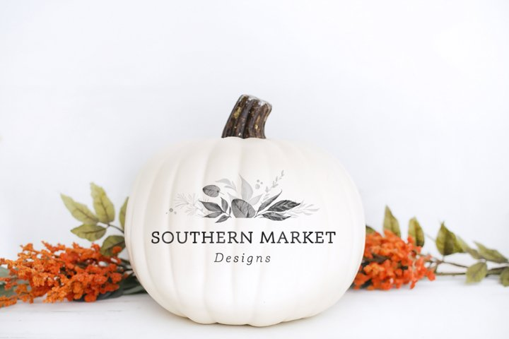 Blank Pumpkin Fall Decal Mock Up Stock Photo