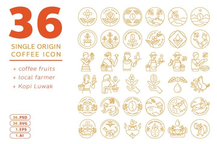 single origin coffee line icon