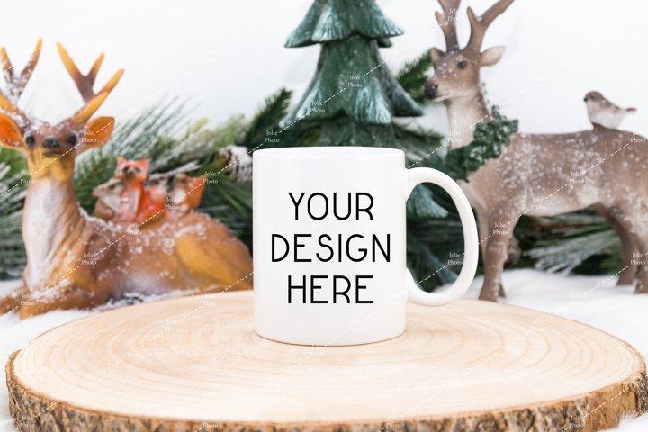 11 Oz Blank White Coffee Cup Mug Winter Mockup