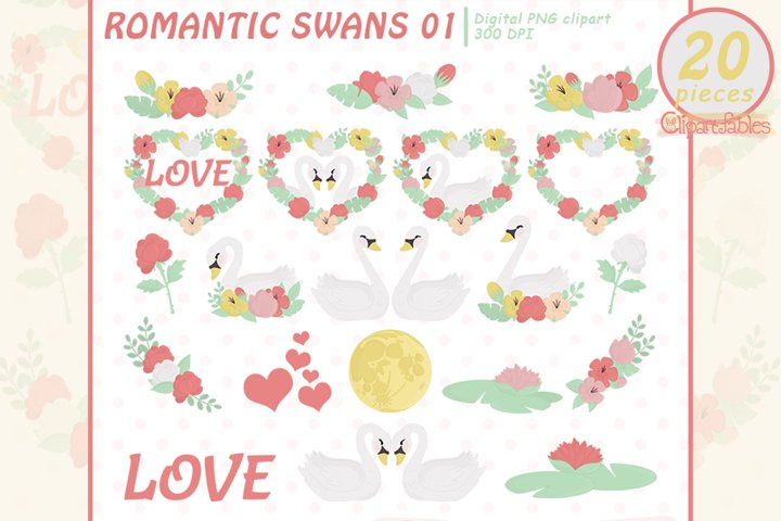 ROMANTIC SWANS clipart, Valentines Day, Swans in love art