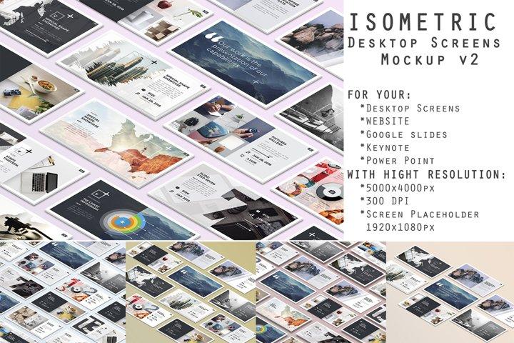 Isometric Desktop Screens Mockup V02