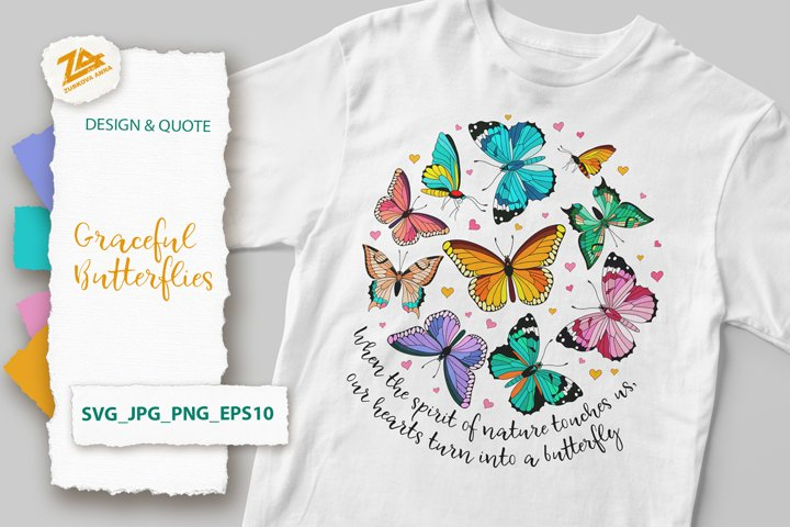 Graceful Butterflies and Mystic Quote SVG, JPG, PNG, EPS10