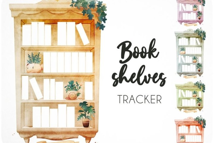 15 Book tracker printables - Reading log bookshelf