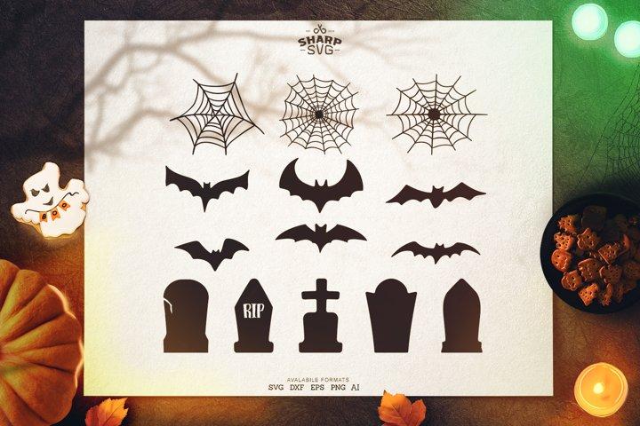 Halloween Decorations SVG | Tombs, SpiderWeb, Bats SVG