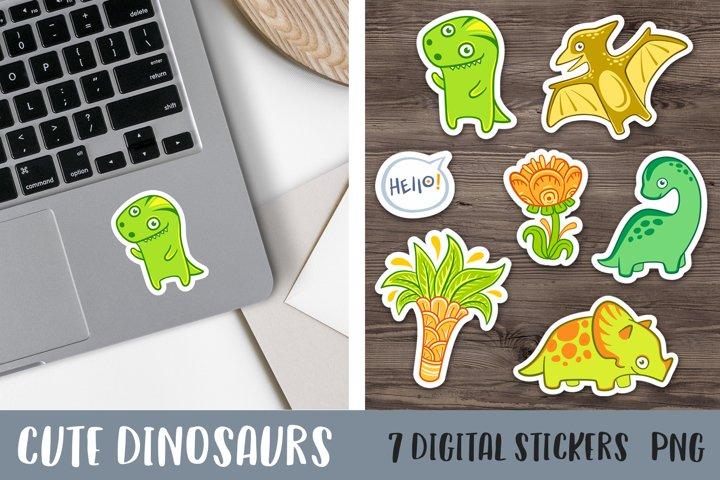 Digital planner stickers graphics Dinosaur Cute animals png