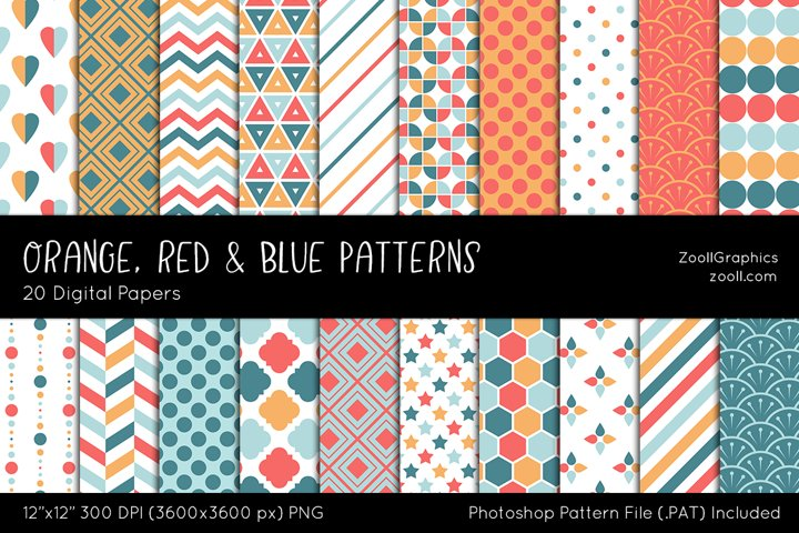 Orange, Red And Blue Digital Papers