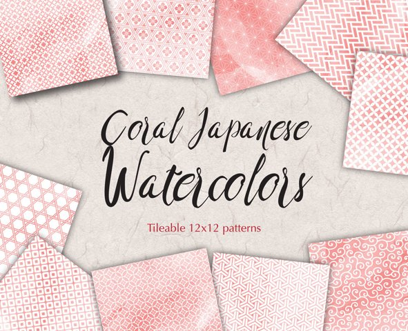 Coral Pink Digital Paper Japanese Background Patterns