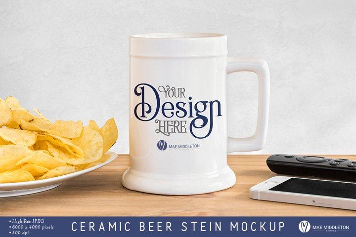 Ceramic Beer Stein Mockup, styled photo