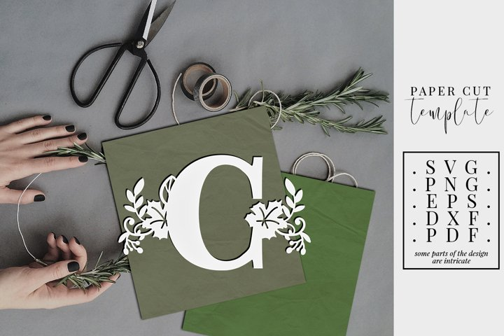 Fall letter C, single initial paper cut template, autumn svg