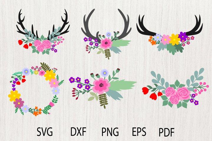 Floral Antlers SVG, Floral SVG, Flower SVG, Flower Antlers