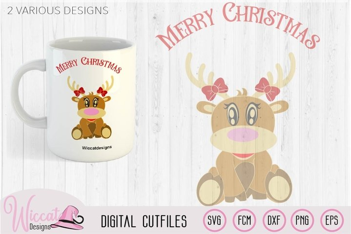 Baby girl Reindeer svg, baby deer svg, baby Christmas