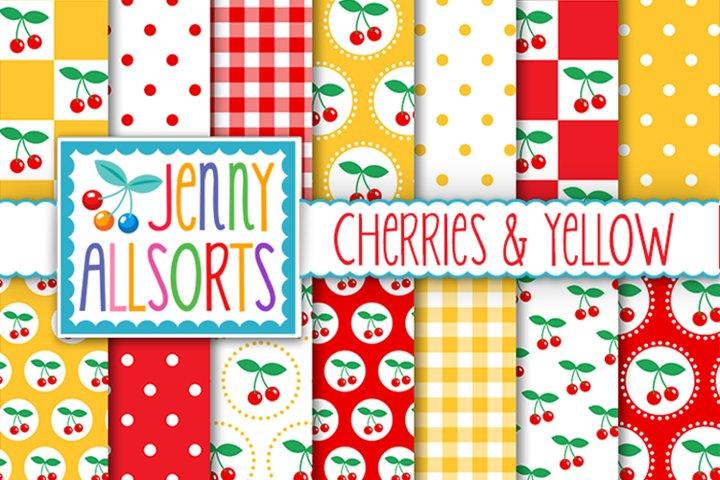 Cherries & Yellow Patterns, Cute Background Digital Designs