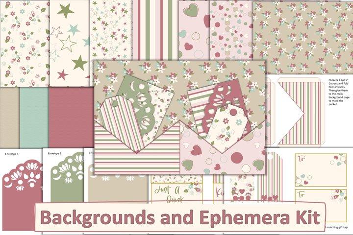 Scrapbook Ephemera with 10 FREE Backgrounds JPEG, PDF, PNG