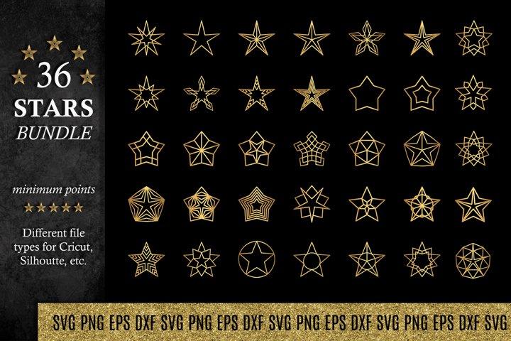 Stars SVG Bundle   EPS DXF PNG Star Shapes