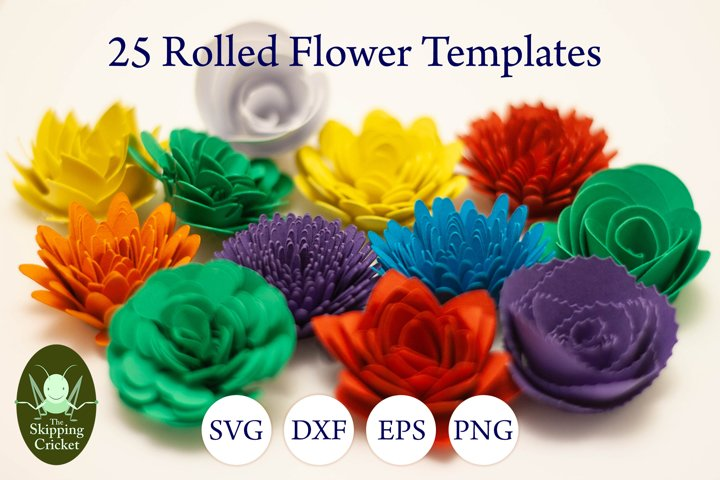 25 Rolled flowers svg, cutfiles, paper craft templates