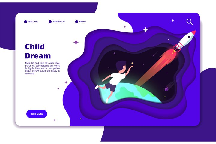 Child dreams concept. Kids imagination with space travelling