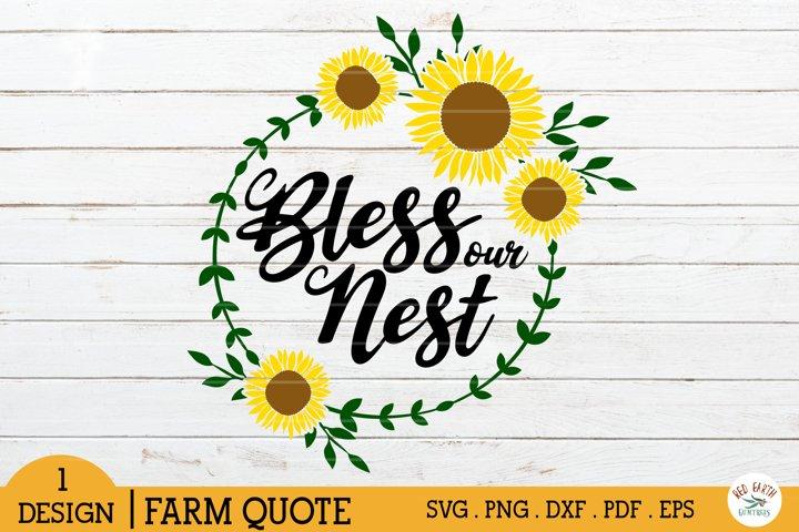 Bless our Nest svg,sunflower monogram frame svg,home frame