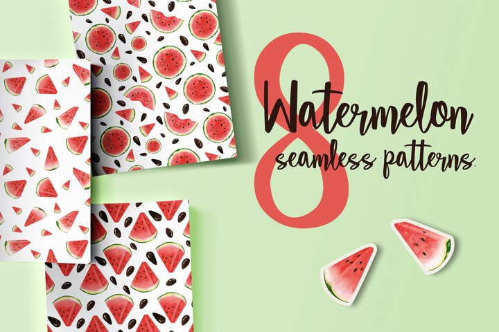 Watercolor seamless pattern with slices of watermelon.
