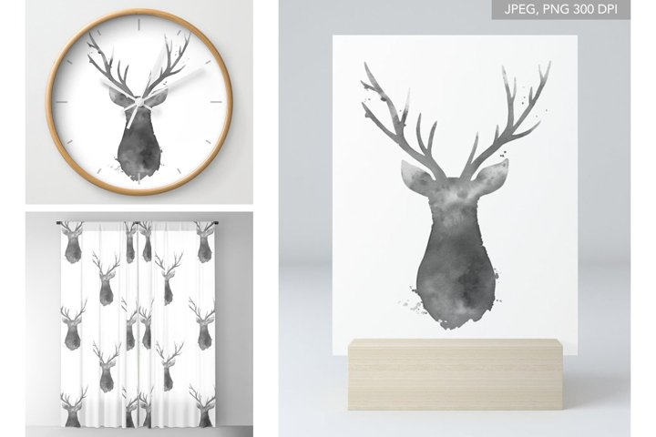 Deer Head Animal Silhouettes Christmas Animals Clipart