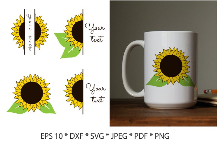 Sunflower SVG. Half sunflower SVG. Sunflower split monogram