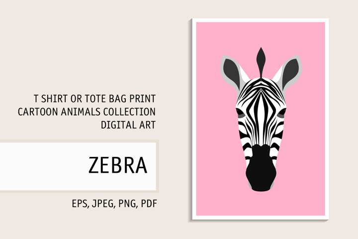 Zebra Print. Zebra Clipart for T Shirt. Zebra Caracter Art