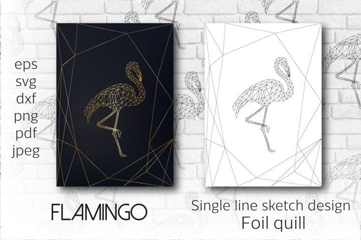 Foil quill Flamingo. Single line sketch design.