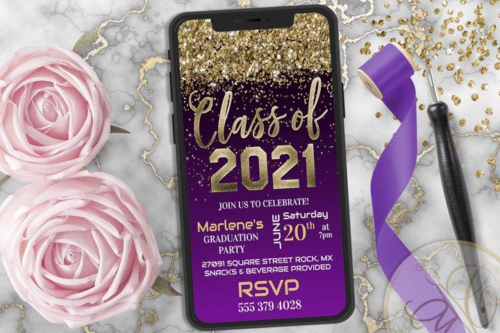 Purple Graduation Phone Invitation, Class of 2021