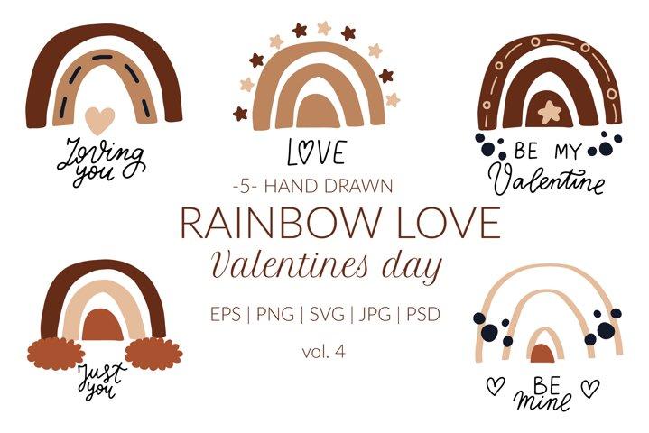 Boho rainbow svg. Valentines day svg. Love wedding clipart