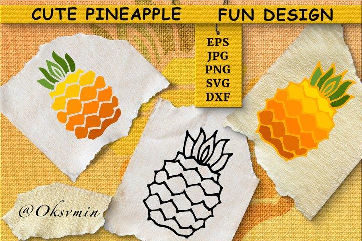 Cute Pineapple SVG | Fun design| Funny summer Illustration