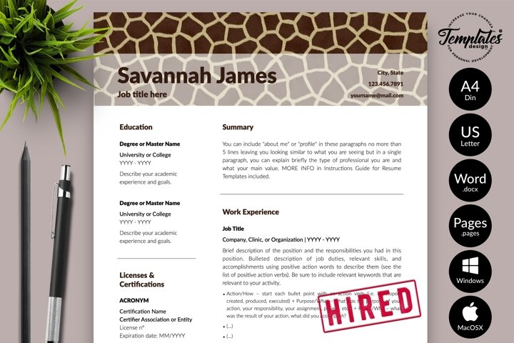 Animal Care Resume Template for Word & Pages Savannah James