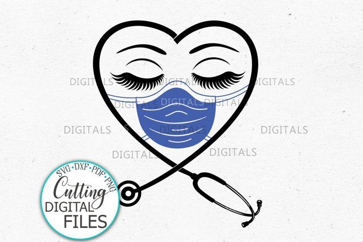 Nurse Mask Stethoscope Eyelashes Quarantine 2020 svg cutting