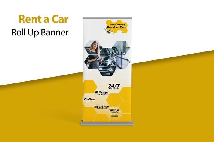 Roll Up Banner for Rent a Car Companies