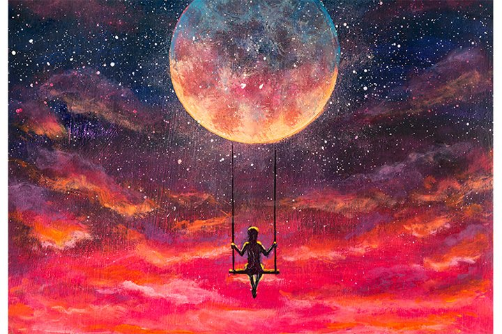 Girl riding on big moon planet fantasy art.