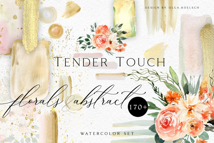 Abstract Boho roses wedding clipart. Fall watercolor floral