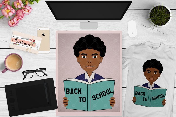 Afro Boy, Back to school, Book, School, Uniform SVG Cut File