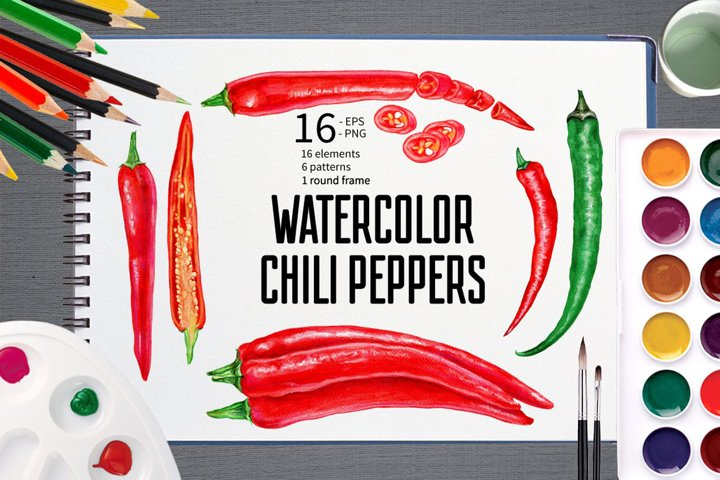 Watercolor Chilli Peppers Collection