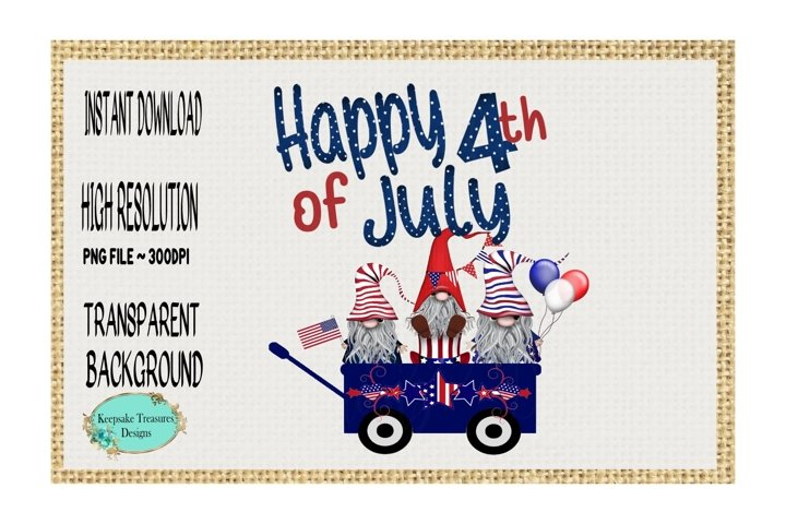 Happy 4th Of July, Gnomes, Sublimation PNG