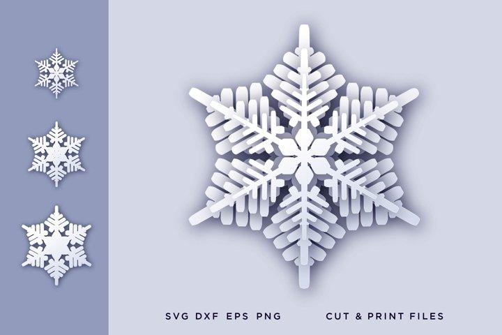 Christmas snowflake svg, Snowflake 3d svg - snowflake layers