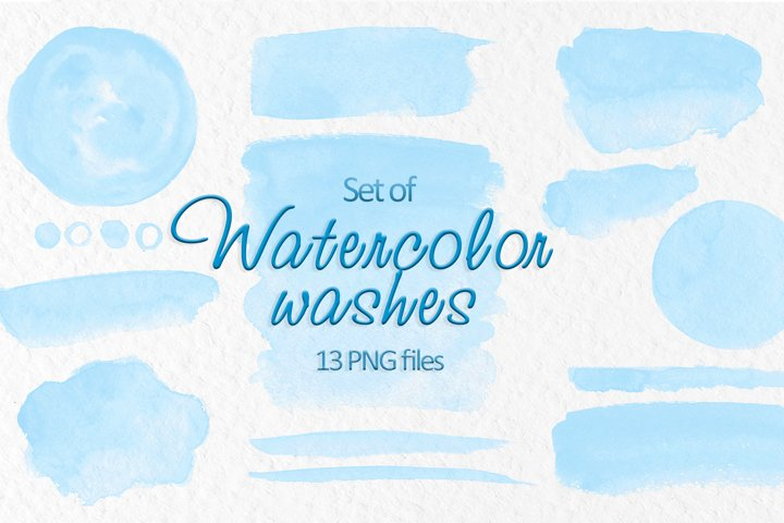 Blue watercolor washes clipart Watercolor stains decoration
