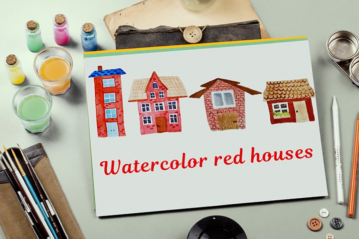 Bundle of red watercolor houses