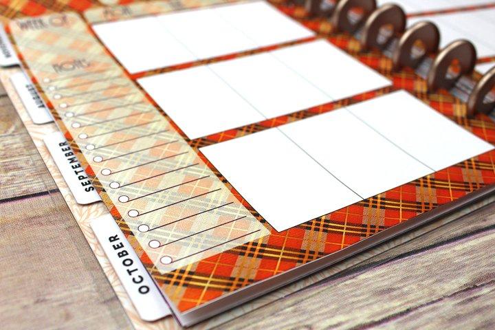 Happy Planner PRINTABLE, Weekly Insert Refill, Fall, Plaid, Woodland, Printable, Planner Printable, 7 x 9.25, Mambi Happy Planner