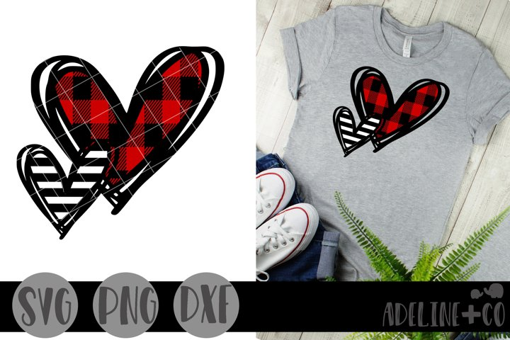 Plaid hearts SVG PNG DXF, Valentines day