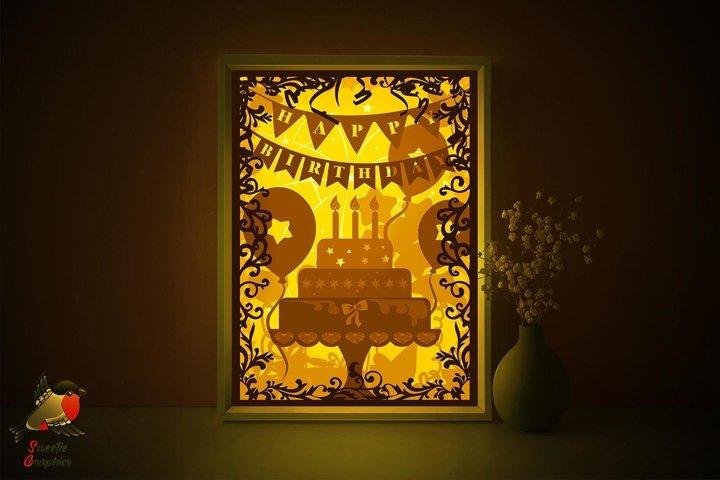 Happy Birthday Cake Lightbox Shadow Box SVG Template