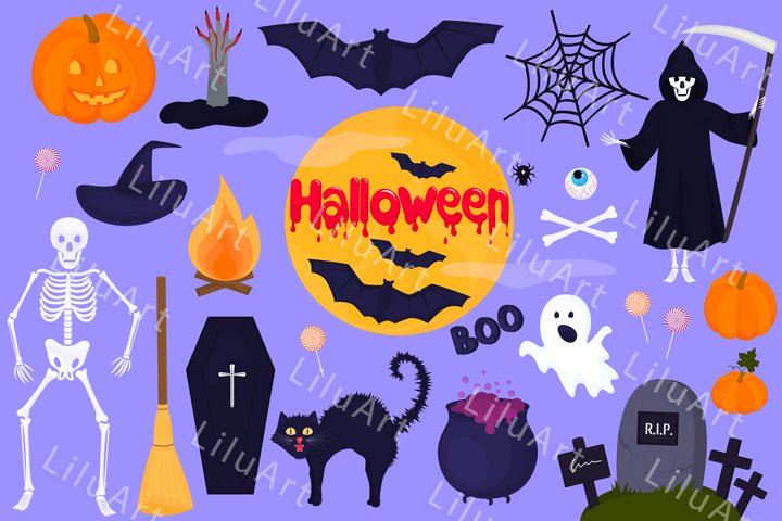 Big set of clip art for Halloween svg