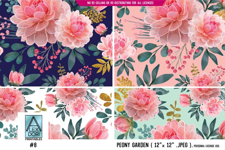 Floral Seamless Patterns Watercolor peony garden 4 in one