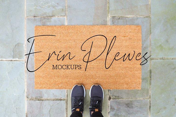 Coir Doormat Mockup | Outdoor Rug Mock-up | Mat Stock Photo