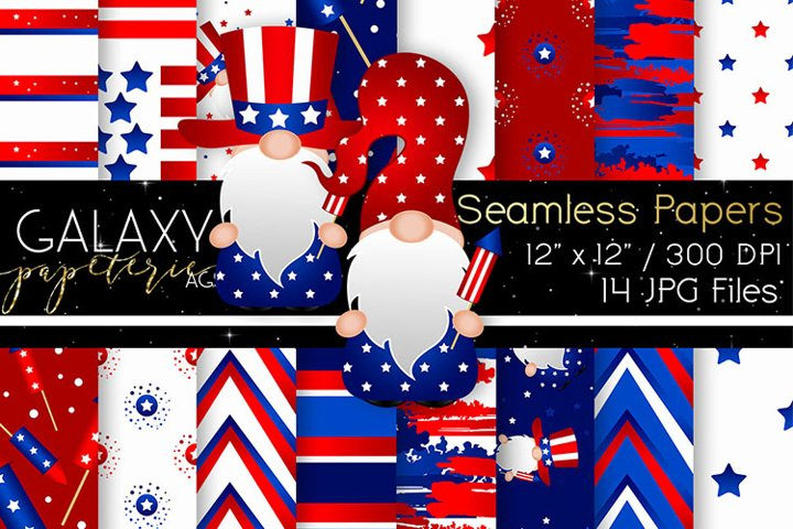 Gnome 4th of July Digital Paper - Seamless Papers